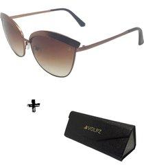 oculos de sol feminino volpz miami 2.0 com case dobrã¡vel - cobre - feminino - dafiti