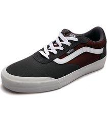 tenis skateboarding gris-vinotinto-blanco vans palomar