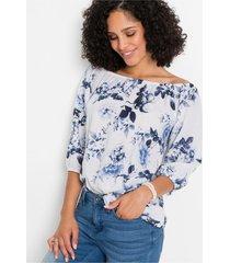 gedessineerde carmen blouse van linnen