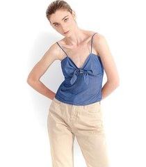 blusa para mujer en denim color indigo, manga sisa, cuello en v, semi corta color-azul-talla-xxs