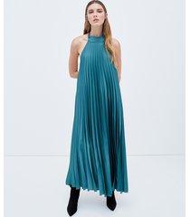 motivi vestito lungo plissé donna verde