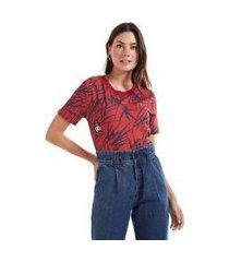 t- shirt estampada bordada bambu est bambumarinho/vermelho - p