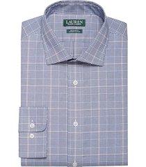 lauren by ralph lauren men's regular fit dress shirt navy & red plaid - size: 19 34/35