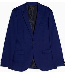 mens blue skinny fit single breasted suit blazer with notch lapels