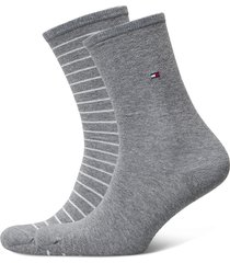 th women sock 2p small stripe lingerie socks regular socks grå tommy hilfiger