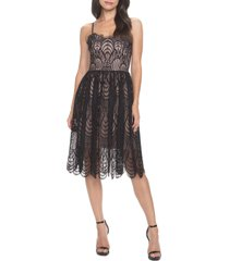 women's dress the population francesca embroidered lace a-line dress, size medium - black