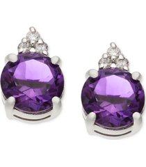 amethyst (1-5/8 ct. t.w.) & diamond accent stud earrings in 14k white gold