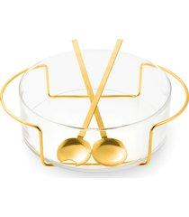 saladeira riccia com par de talheres ouro 24k - riva