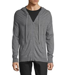 zadig & voltaire men's heathered zip-front cashmere hoodie - charcoal - size l