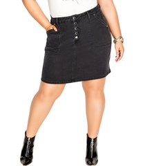 city chic high waist denim skirt, size x-small in black wash at nordstrom