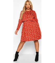 plus ditsy floral ruffle smock dress, rust