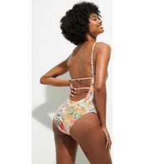 swimsuit back lurex straps - white - xl