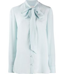 alexander mcqueen pussy-bow blouse - blue