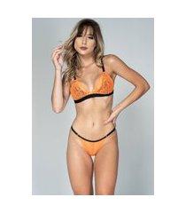 conjunto feminino lingerie neon serra e mar modas com renda laranja