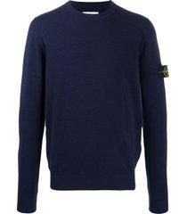 stone island fine knit pullover jumper - blue