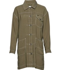 elongated duster coa dunne lange jas groen lee jeans