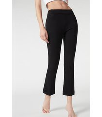 calzedonia cropped flared leggings woman black size s