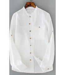 t-shirt da uomo in lino singolo traspirante in cotone, colore solido camicia
