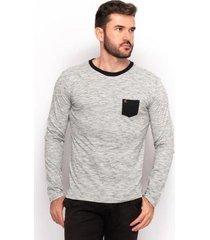 camiseta algodão masculina manga longa lisa casual conforto - masculino
