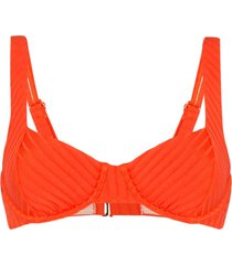 peony tangerine balconette bikini top - orange