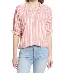 women's bobeau stripe button-up blouse, size large - orange