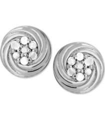diamond cluster swirl stud earrings (1/10 ct. t.w.) in sterling silver