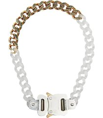 transparent chain and metal necklace