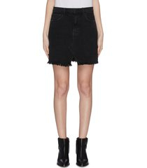 'jules' dark wash slit frayed hem denim skirt