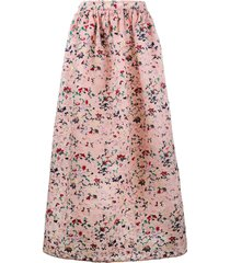 huishan zhang floral embroidered soft pleated skirt - pink