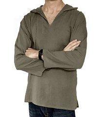 hombres estilo étnico retro algodón lino manga larga capucha