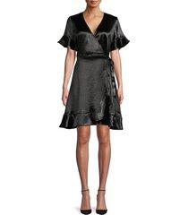 ava & aiden women's ruffled tie-waist wrap dress - black - size xs
