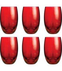 conjunto de copos bellagio vermelho 450ml - com 6 peã§as - casa linda - vermelho - feminino - dafiti