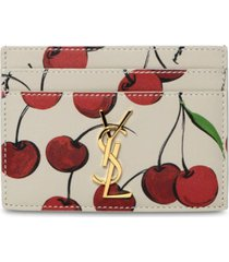 cherry print leather credit card holder