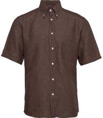 linen shirt overhemd met korte mouwen bruin eton