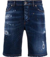 john richmond distressed mid-rise denim shorts - blue