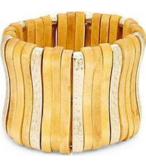 22k goldplated & wood slip-on bracelet