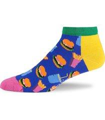 happy socks men's hamburger-print liner socks - yellow multi
