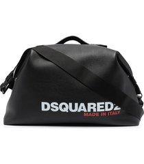 dsquared2 logo print duffle bag - black