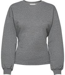 lnwilma sweatshirt w. tiebelt sweat-shirt trui grijs lounge nine