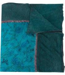 avant toi frayed printed scarf - blue
