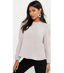 frill neck long sleeve woven blouse, stone