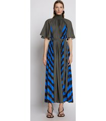 proenza schouler crepe pleated stripe dress fatiguemulti/green 8