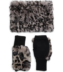 2-piece rabbit fur & wool-blend neck wrap & fingerless mittens set