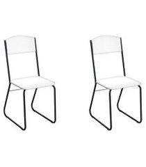 conjunto com 2 cadeiras byron branco e preto