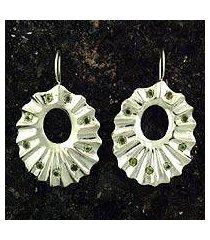 peridot drop earrings, 'ruffles' (india)