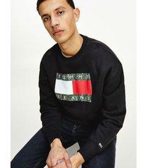 tommy hilfiger men's organic cotton camo flag sweatshirt black - xxl