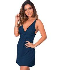 1 camisola renda sensual linha noite lingerie feminina azul escuro - multicolorido - feminino - dafiti