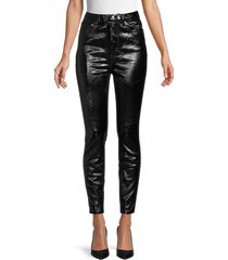 free people women's phoenix coated jeans - liquid black - size 30 (8-10)