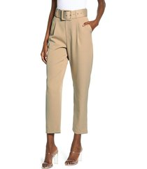 women's english factory belted crop trousers, size small - beige