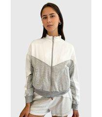 chaqueta hering blanco/ gris - calce regular